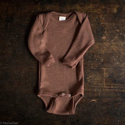 Exclusive Organic Silk & Merino Baby Body - Hazelnut