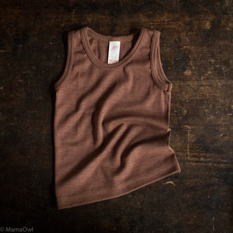 Exclusive Organic Silk & Merino Kids Sleeveless Top - Hazelnut
