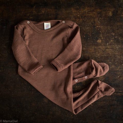 Exclusive Organic Silk & Merino Footed Pyjamas - Hazelnut