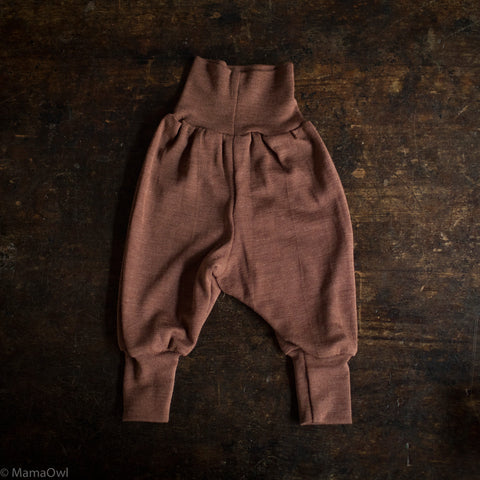 Exclusive Organic Silk & Merino Baby Pants - Hazelnut