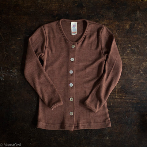 Exclusive Organic Silk & Merino Kids Cardigan - Hazelnut