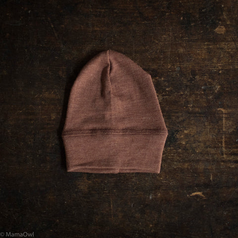 Exclusive Organic Silk & Merino Baby Hat - Hazelnut