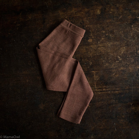 Exclusive Organic Silk & Merino Kids Leggings - Hazelnut
