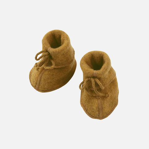 100% Organic Merino Wool Fleece Booties - Saffron Melange