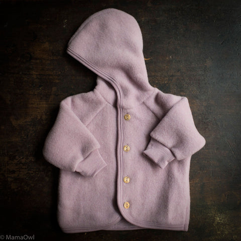 Organic Merino Wool Supersoft Fleece Jacket - Lilac Rose
