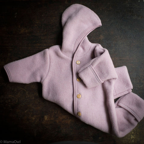 Organic Merino Wool Supersoft Fleece Suit - Lilac Rose