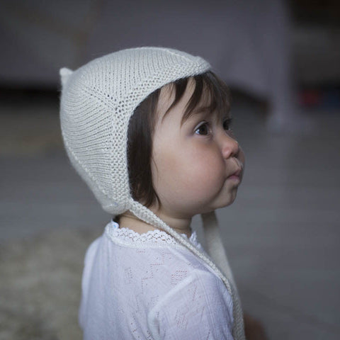 Hand-Knit Alpaca Bonnet - Natural
