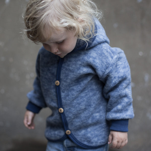 Merino wool fleece jacket - Navy - 3m-4y