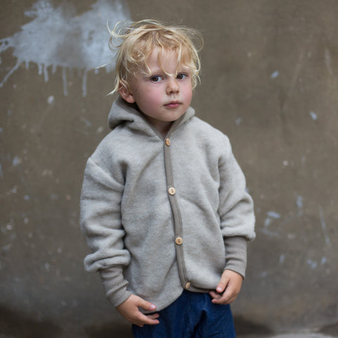 Merino wool fleece jacket latte 3m-4y