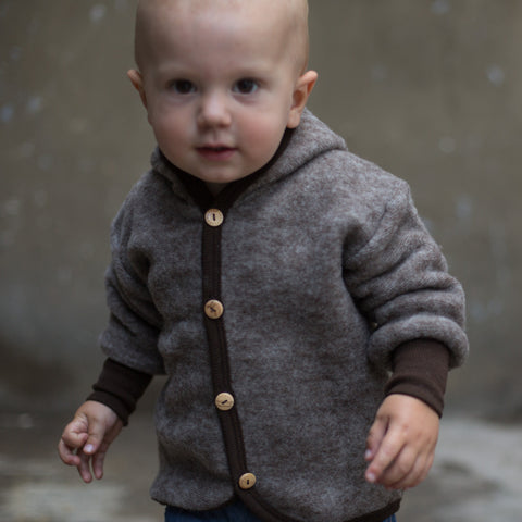 Merino wool fleece jacket Brown 3m-4y
