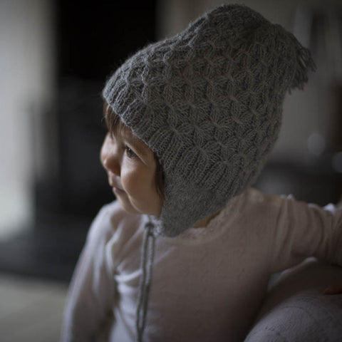 Hand-knitted Smock bonnet - Light Grey or Slate - 0m-3y