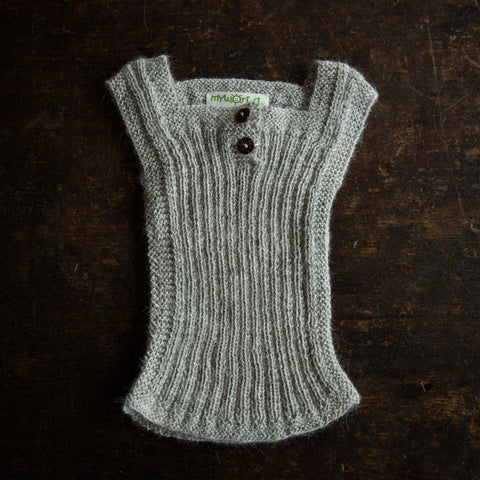 Beautiful Alpaca Rib vest / Body Warmer - Light Grey