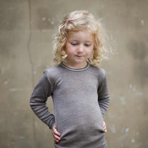 Organic Silk & Merino Wool Long Sleeve Vest/Top - Walnut - 18m-8y