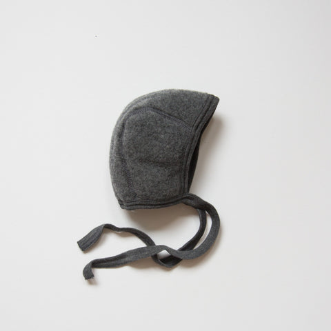 Exclusive 100% Organic Merino Wool Supersoft Fleece Newborn Baby Bonnet - Slate