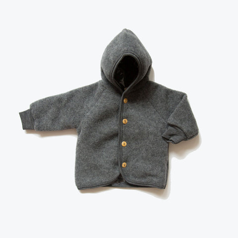 All sizes in stock in August. 100% Organic Merino Wool Supersoft Fleece Jacket - Slate Grey - 0-12m