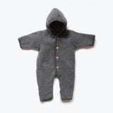 100% Organic Supersoft Merino Wool Fleece Suit - Slate - 1-2y