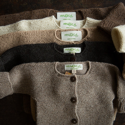 Exclusive Hand Knitted Alpaca Cardigan - Brown