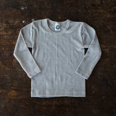 Organic Merino Wool, Cotton & Silk Top - Silver Melange - 1-8y