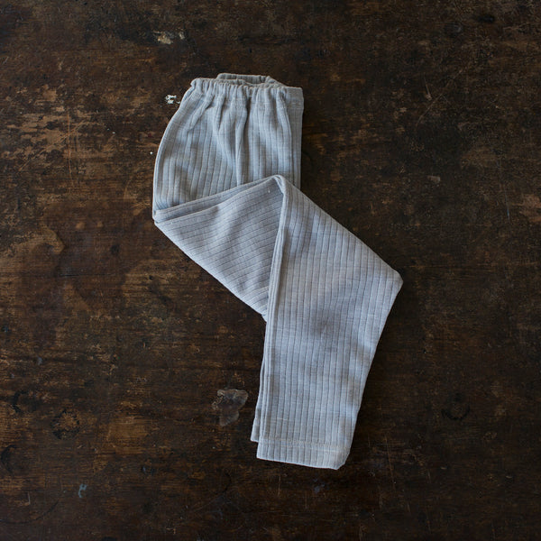 Organic Merino Wool, Cotton & Silk Leggings - Silver Melange - 1-8y