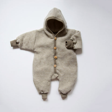 Merino wool fleece snuggle suit - Green or Latte - 0m-2y