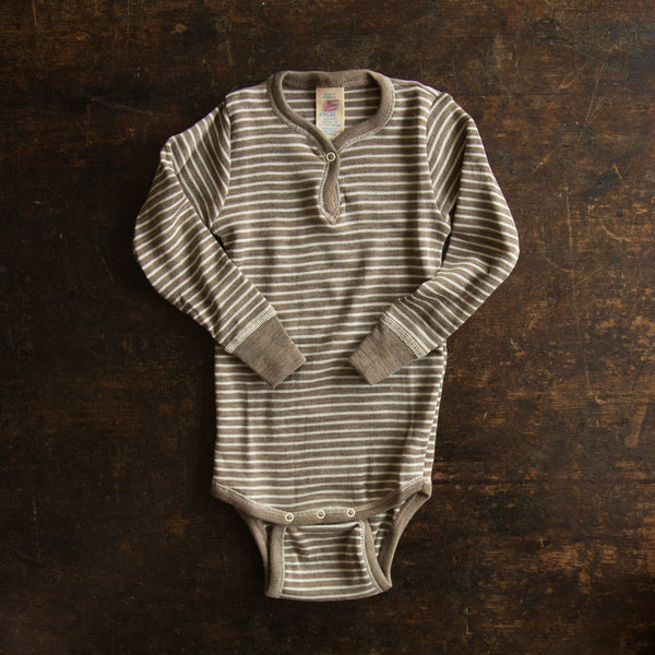Organic Silk & Merino Wool Body Round Neck - Walnut Stripe 3m-3y