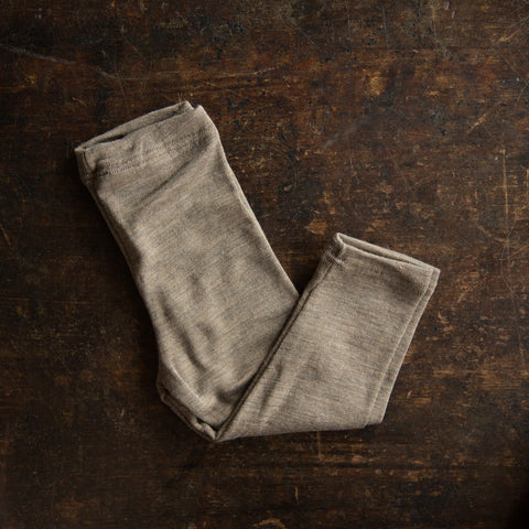 Organic Silk & Merino Wool Baby Leggings - Walnut