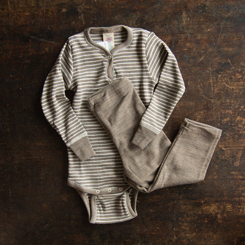 Organic Silk & Merino Wool Baby Leggings - 3m-2y - Walnut