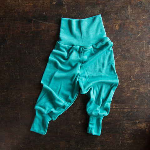 Organic Silk & Merino Wool Baby Pants - Kingfisher Blue - 0-3m