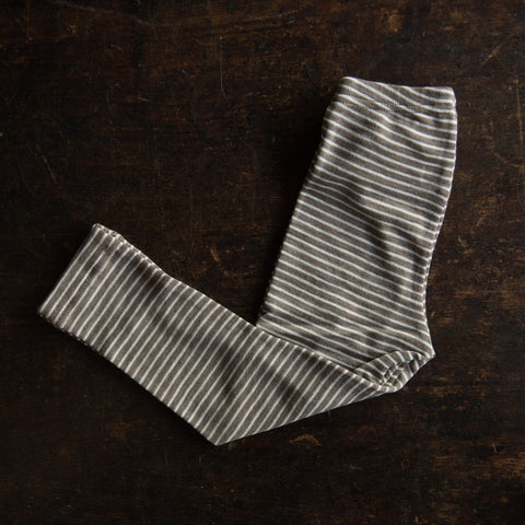 Organic Silk & Merino Wool Kids Leggings - Walnut Stripe - 1-12y