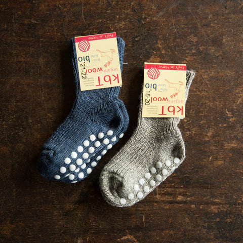 100% Wool Socks With Stoppers - Denim