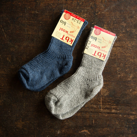 Babies & kids 100% wool socks - Denim or Grey - 15-34