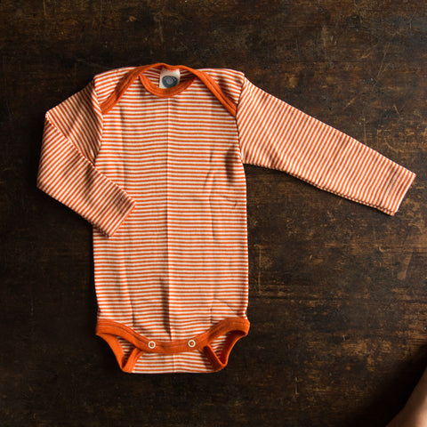 Organic merino wool&silk body - Orange stripe 0m-3y