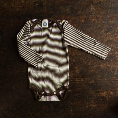 Organic merino wool&silk body - Brown stripe - 0m-3y