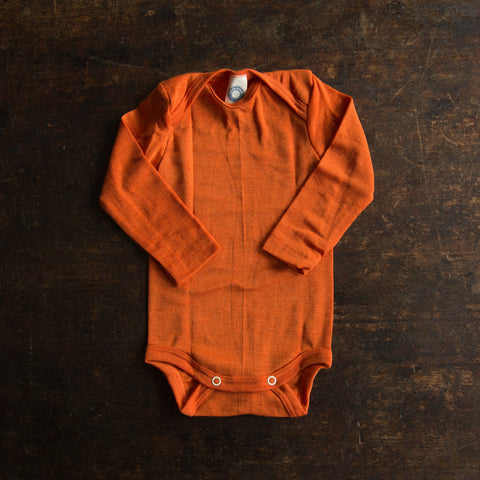 Organic merino wool&silk body - Orange 0-24m