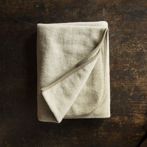 Merino wool fleece baby blanket - Latte