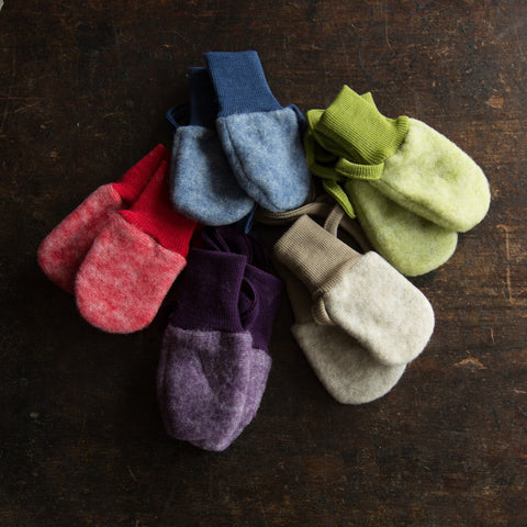 Merino wool fleece mittens - Navy, Latte, Olive, Purple and Red.