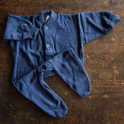 Merino Wool Terry Pyjamas - 0-24m - Blue or Olive Green
