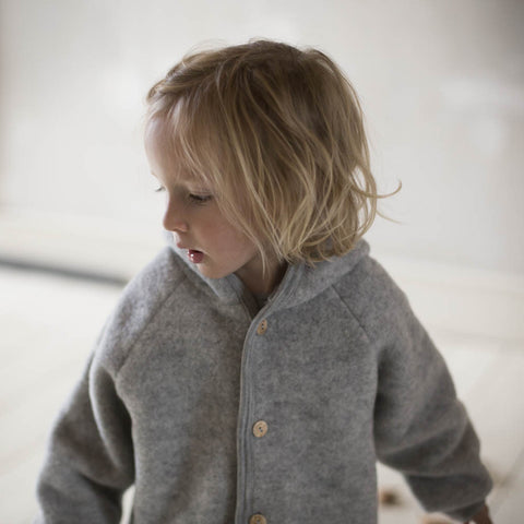 Organic Merino Wool supersoft Fleece Jacket - Light Grey - 0m-2y