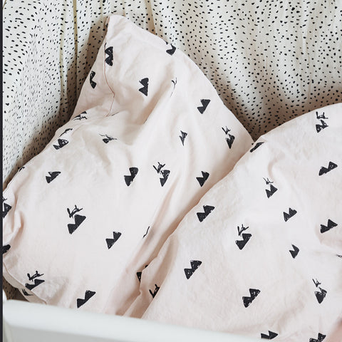 Organic Cotton Duvet & Cushion Cover Rabbit - Rose - Junior