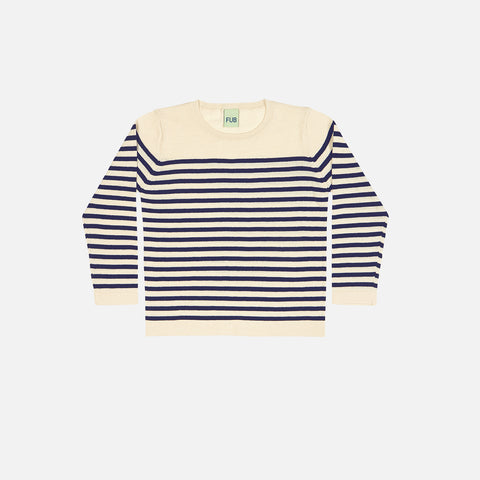 Organic Light Knit Sweater - Ecru/Navy - 9-10y