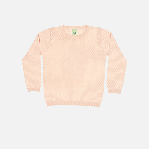 Organic Cotton Pointelle Sweater - Blush - 2-10y