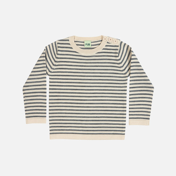 Merino Stripe Thin Sweater - Ecru/Grey - 2-10y