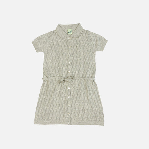 Organic Cotton Pointelle Dress - Light Grey - 2-8y
