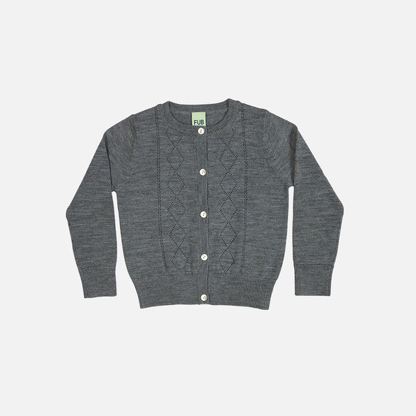 Merino Pointelle Cardigan - Grey - 2-12y