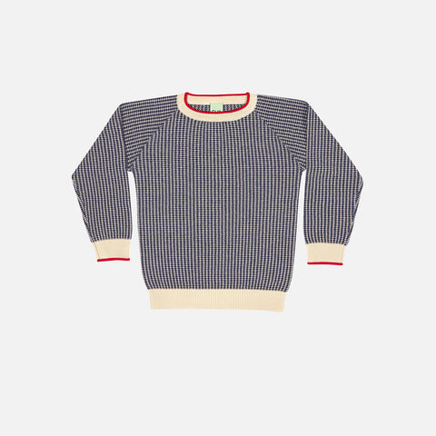 Organic Textured Light Sweater - Ecru/Navy - 5-8y