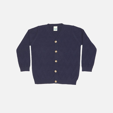 Organic Cotton V-Neck Cardigan - Navy - 2-10y