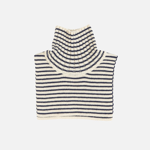 Merino Neck Warmer - Ecru/Navy - 2-12y