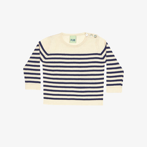 Organic Cotton Knit Baby Sweater - Ecru/Navy - 3-24m
