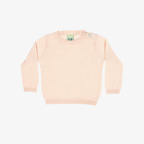Organic Cotton Baby Pointelle Sweater - Blush - 3-24m