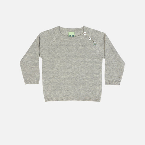 Organic Cotton Baby Triangle Sweater - Light Grey - 3-24m